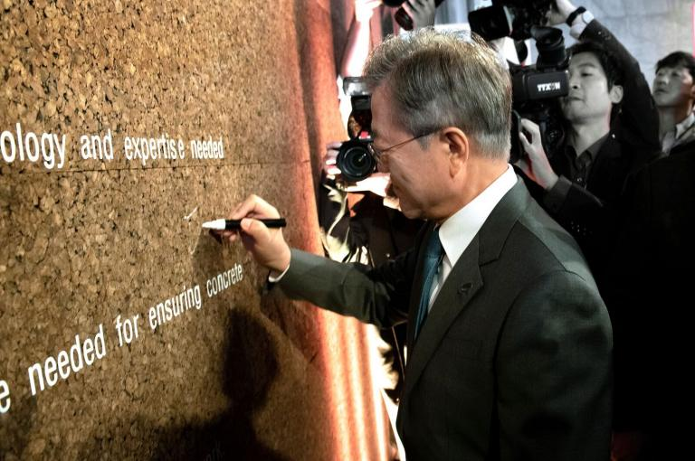 President Moon signing wall